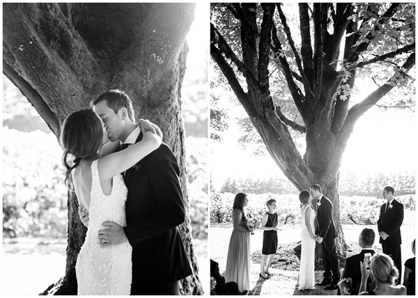 wedding pronouncement kiss the bride black white