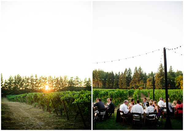 sunset during wedding reception in oregon