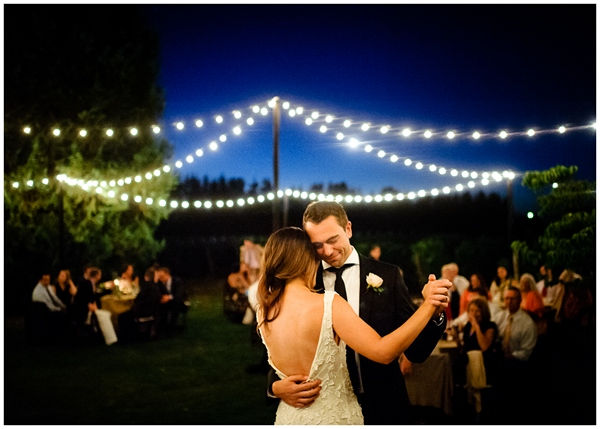beautiful color photograph during first dance in low light