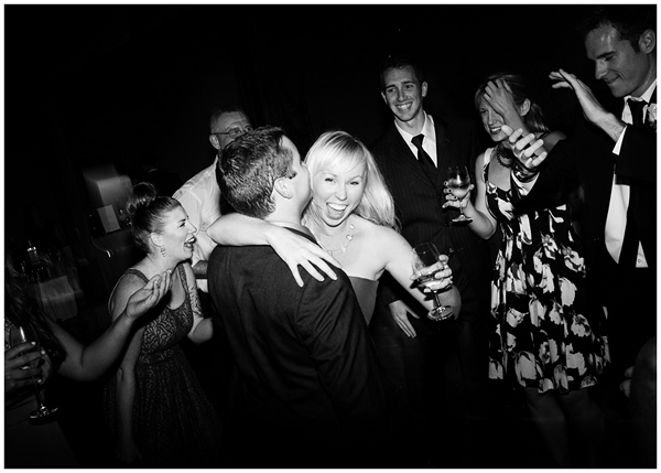 oregon wedding guests dancing black and white