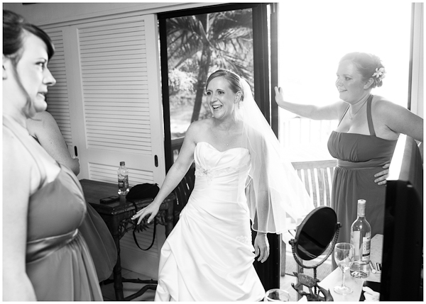 bride laughing before ceremony