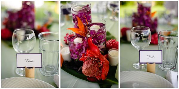 table settings at hawaiian wedding