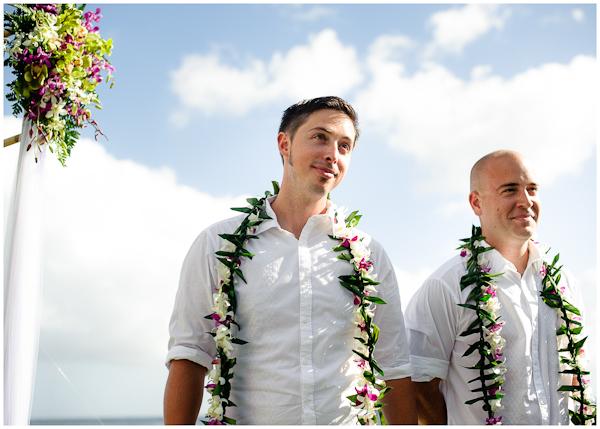 groom waiting for bride in hawaii down aisle