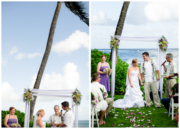 bride and groom moments under palm tree at wedding
