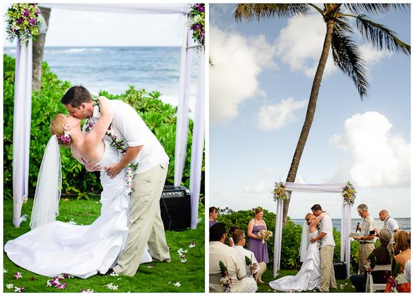 first kiss kauai wedding ceremony