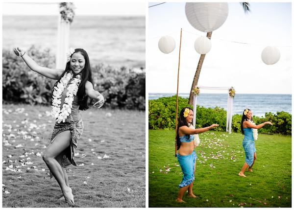hula dancers at poipu hawaiian wedding reception