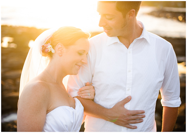 sunset moment with bride and groom during wedding portraits