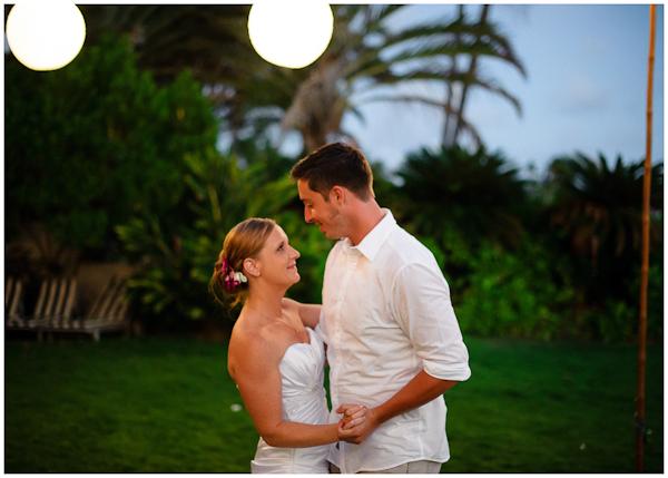 first dance backyard hawaiian wedding