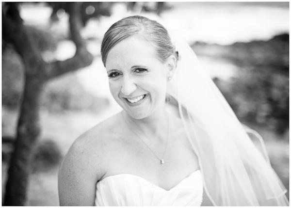happy bride black white portrait