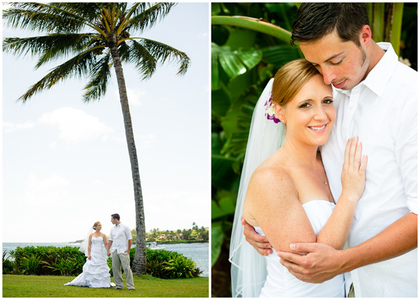 bride and groom portraits under palm trees