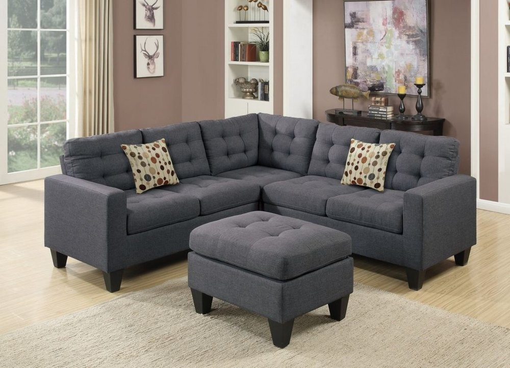 Bon $639 With Ottoman   Sectional Color Grey, Also Available In RED
