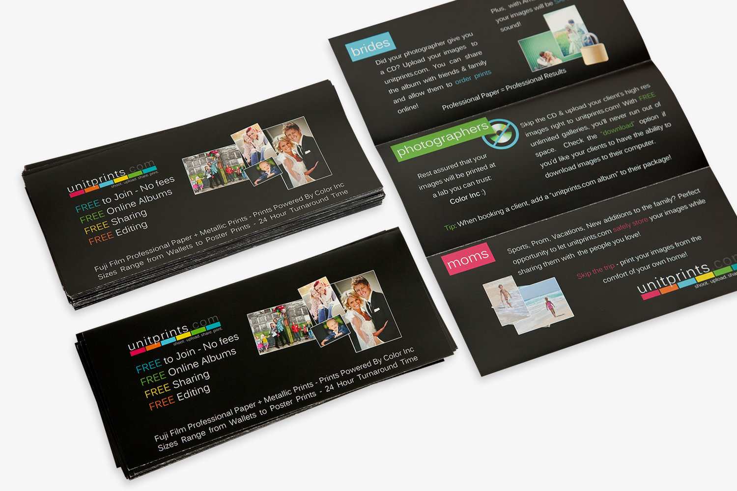 Business cards post cards color inc professional photo and home tri fold brochures reheart Image collections