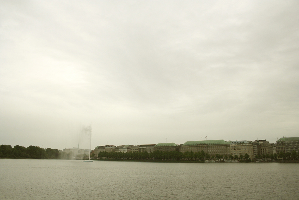 view from the Alster Lake in the middle of Hamburg