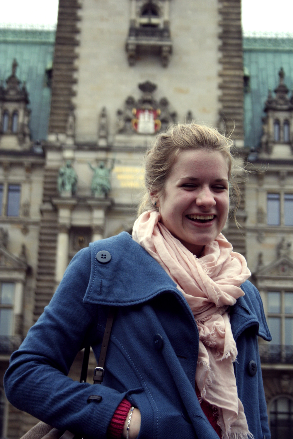 Tabea in front of the Rathaus