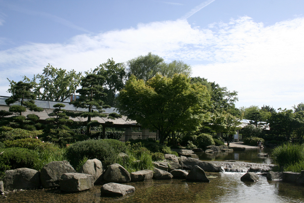 Japanese garden in the park in Hamburg