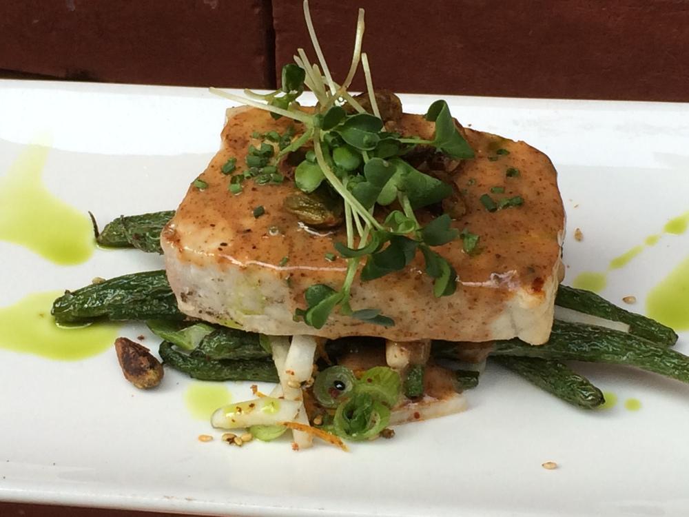 swordfish w almond butter glaze.JPG