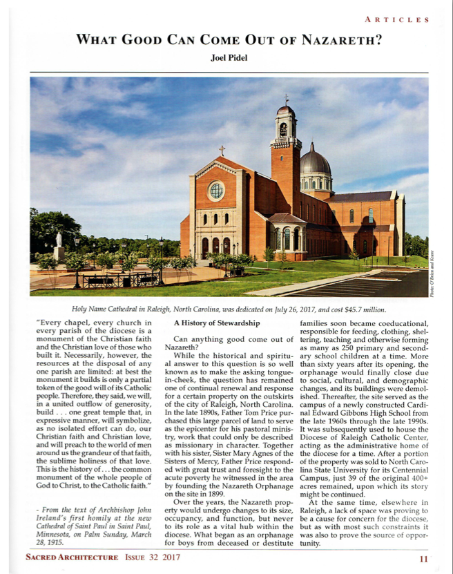 In Depth Article on Holy Name of Jesus Cathedral Presented in Sacred Architecture Journal - April 2018