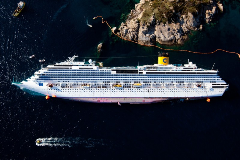 Aerial view of the ship Costa Concordia (Isola del Giglio, Italy)