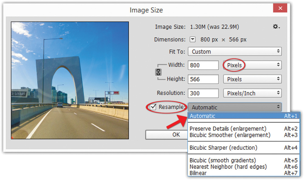 Image 1 — the Image Size dialogue box