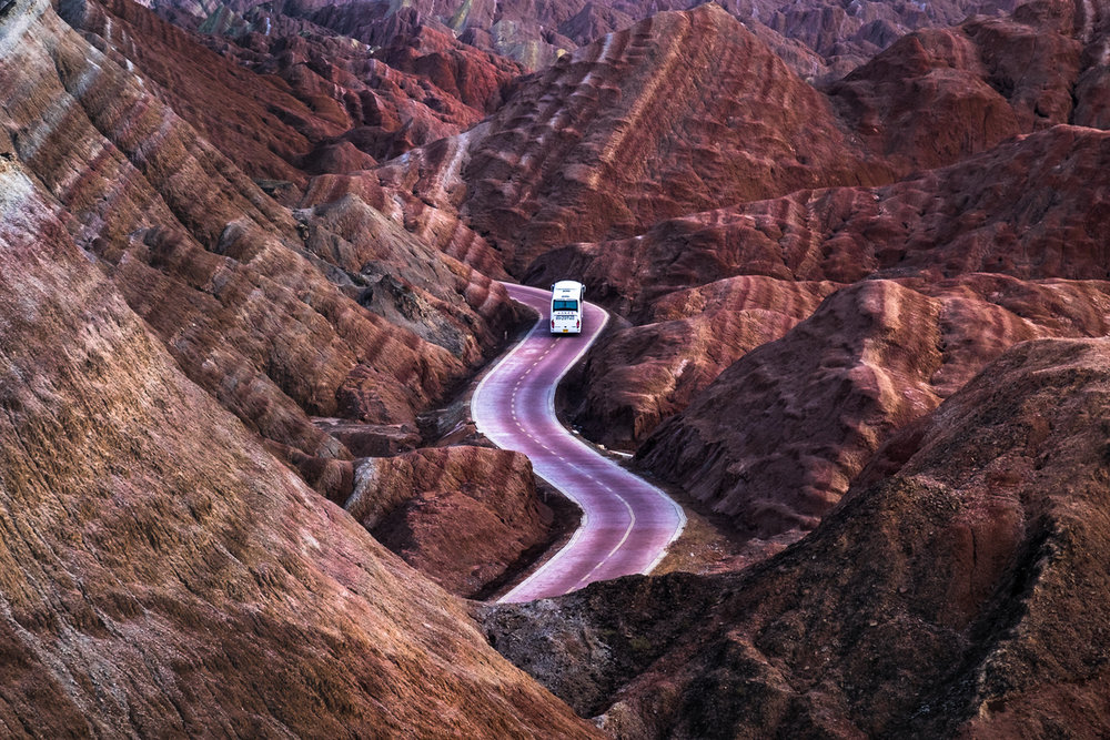 First: Jacky Challis, Winding through painted mountains, Zhangye, China