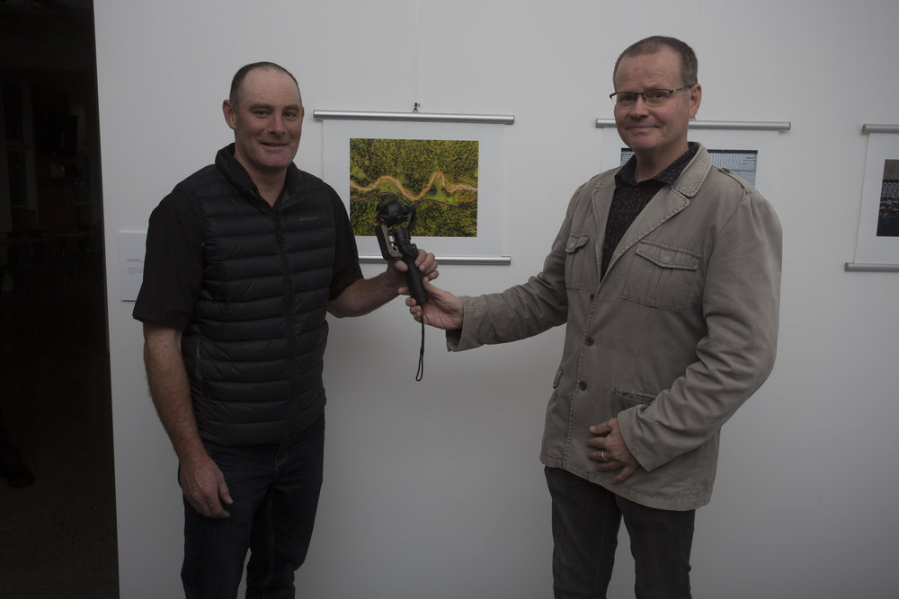 Winner of the Aerial category, Mike Vincent, with Ken Newall of DJI/Lacklands