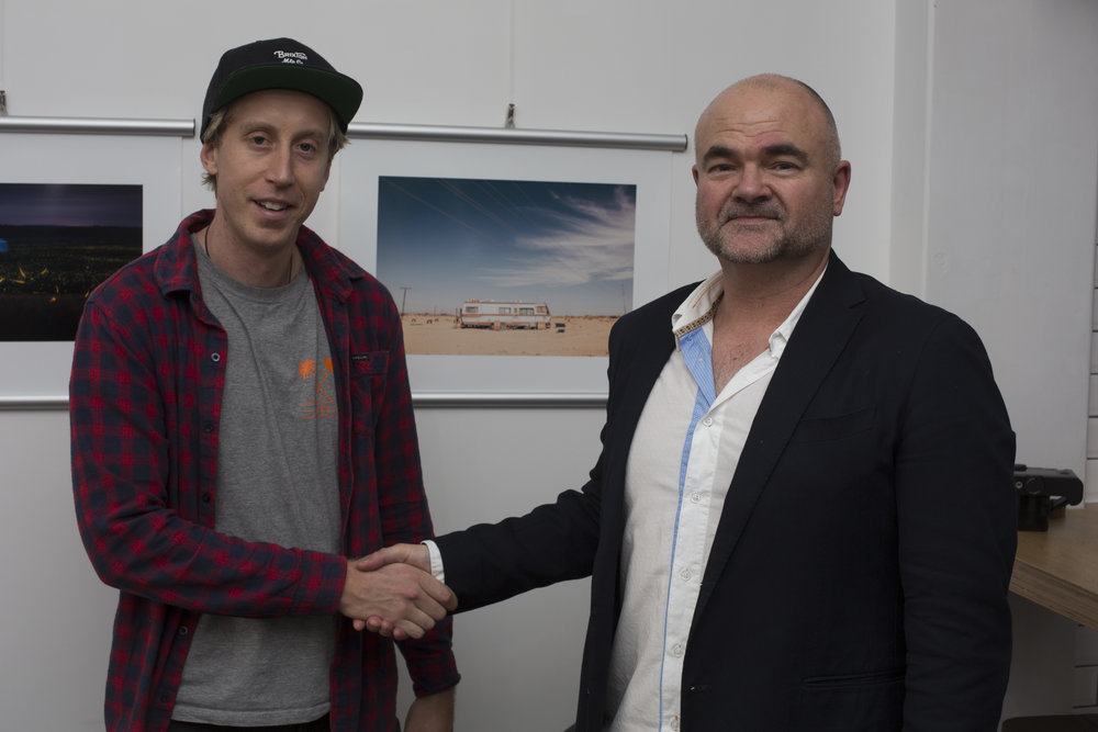 Jared Buckley, who took out third place in the Travel category, with David Burns