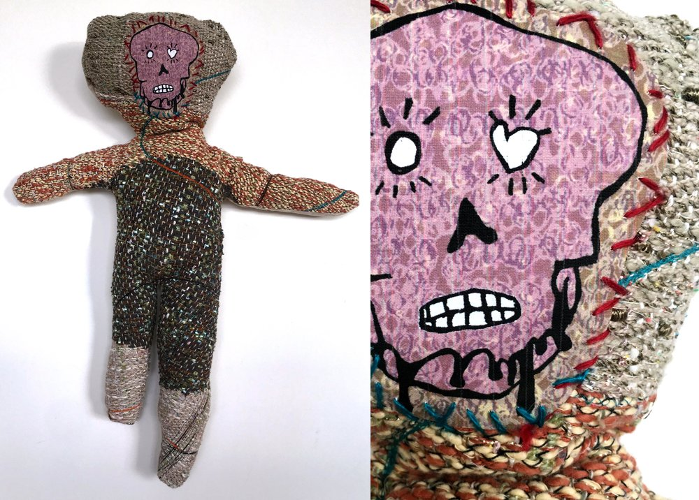 "Skeleton Baby  h: 28"" x w: 12"" hand-woven and machine-made fabric, embroidery, inkjet prints, fleece 2017"
