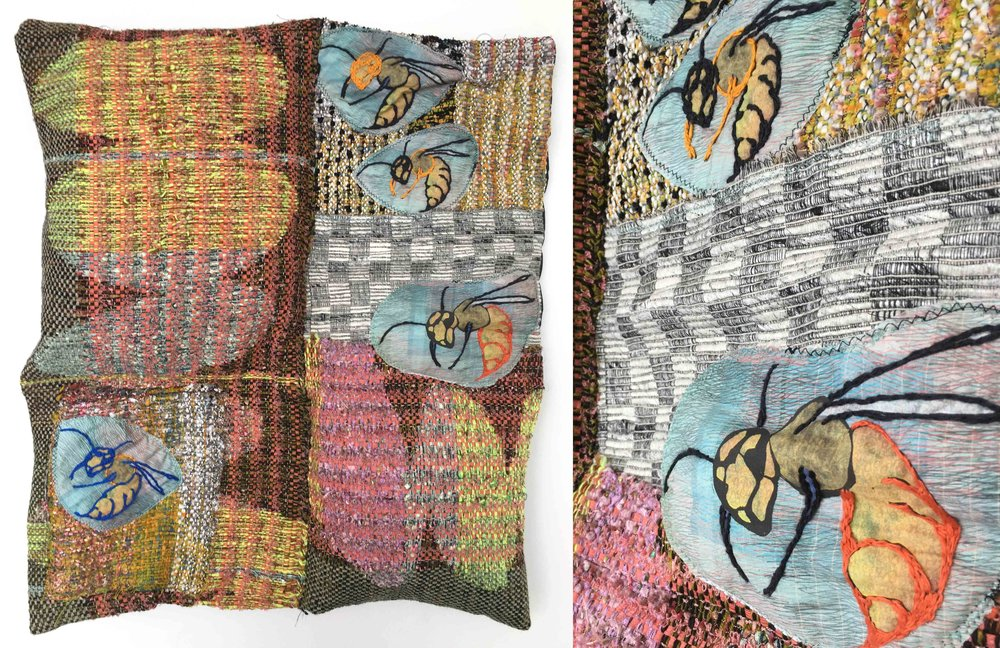 "Love Stings  h: 26"" x w: 22"" hand-woven and machine-made fabric, embroidery, inkjet prints, fleece 2017"