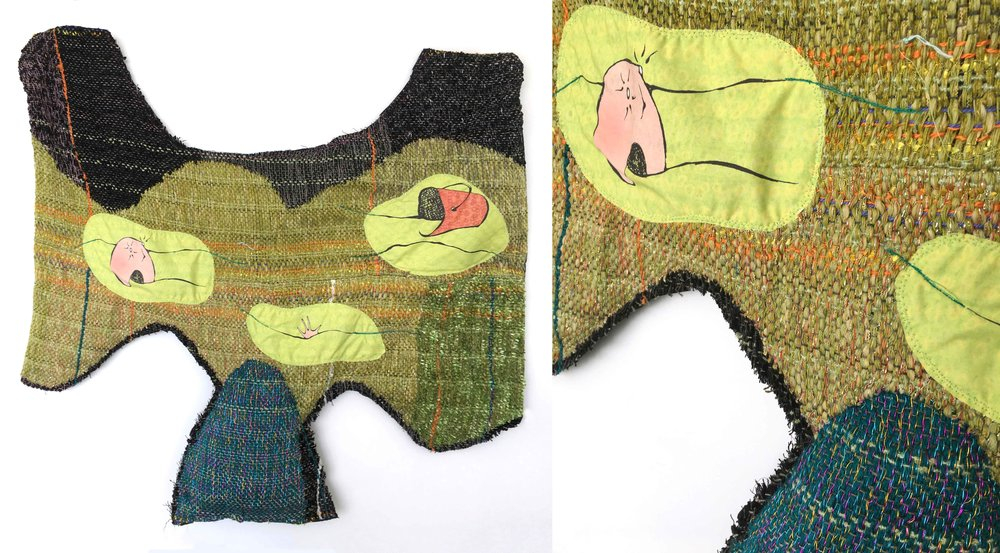 "Drowning My Sorrows (2)  h: 25"" x w: 34"" hand-woven and machine-made fabric, embroidery, inkjet prints, fleece, wire 2017"