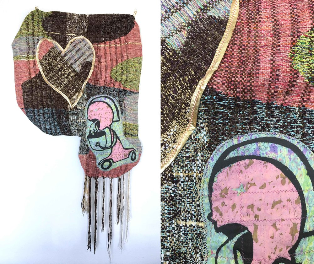 "Really Love Sick  h: 36"" x w: 28"" hand-woven and machine-made fabric, embroidery, inkjet prints, fleece 2017"