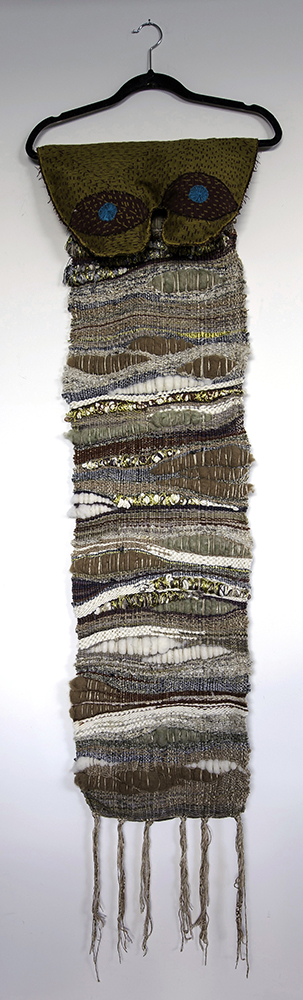 """My Eyes Are Down Here: Mustard  H: 60"""" x W: 18"""" Hand-woven and Machine-made Fabric, Coat Hanger 2017"""