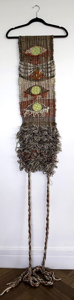 """My Eyes Are Down Here: Burnt Umber  H: 72"""" x W: 18"""" Hand-woven and Machine-made Fabric, Coat Hanger 2017"""