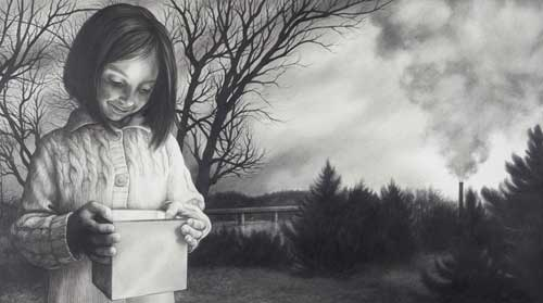 At the very bottom of her box, there lay hope graphite on Arches hot press watercolor paper 14 x 25 inches