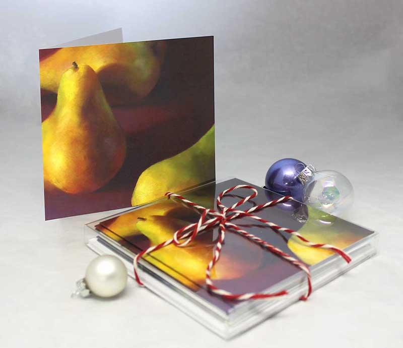Jo Bradney : Warm Pears in Burgundy, note cards