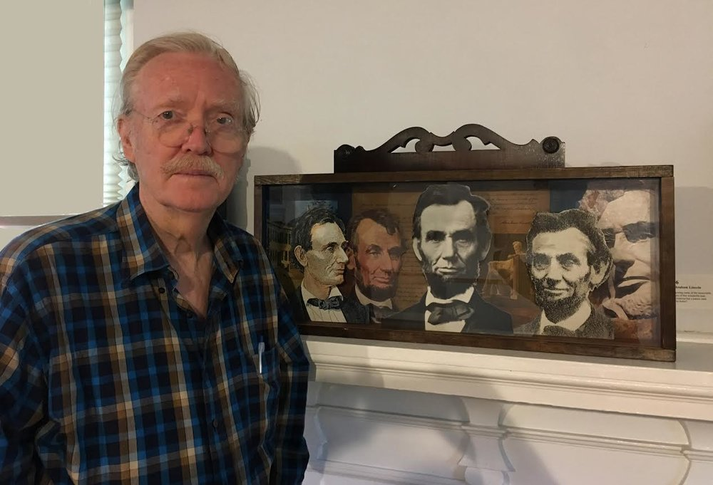 "Artist Bob Freese with his ""Presidential Shadow Box #16 Abraham Lincoln"""