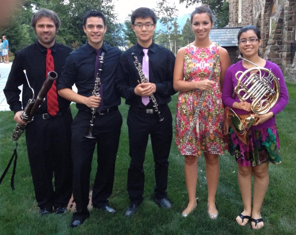 With the 2013 Lake George Music Festival woodwind quintet:  Martin Gordon  (bassoon),  Emmanuel Toledo  (clarinet),  Sam Nemec  (oboe) and  Jaclyn Perez  (horn)