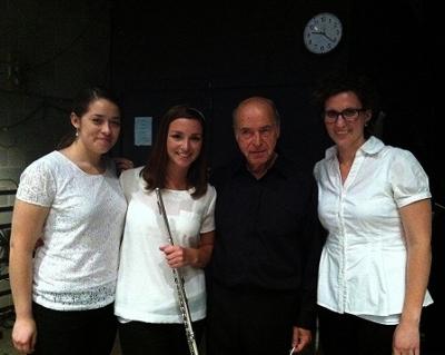 Brevard flutists Kaitlin Barbo, Rachel Woolf with conductor Matthais Bamert.    Brevard, NC,2013