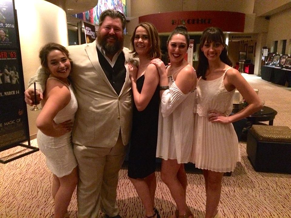 Alexandra (Chava), Jason Simon (Tevye), Kathryn Bailes (Golde), Rebecca Kuznick (Tzeitel), and Brittany Santos (Hodel) at the opening night party for Fiddler On The Roof.