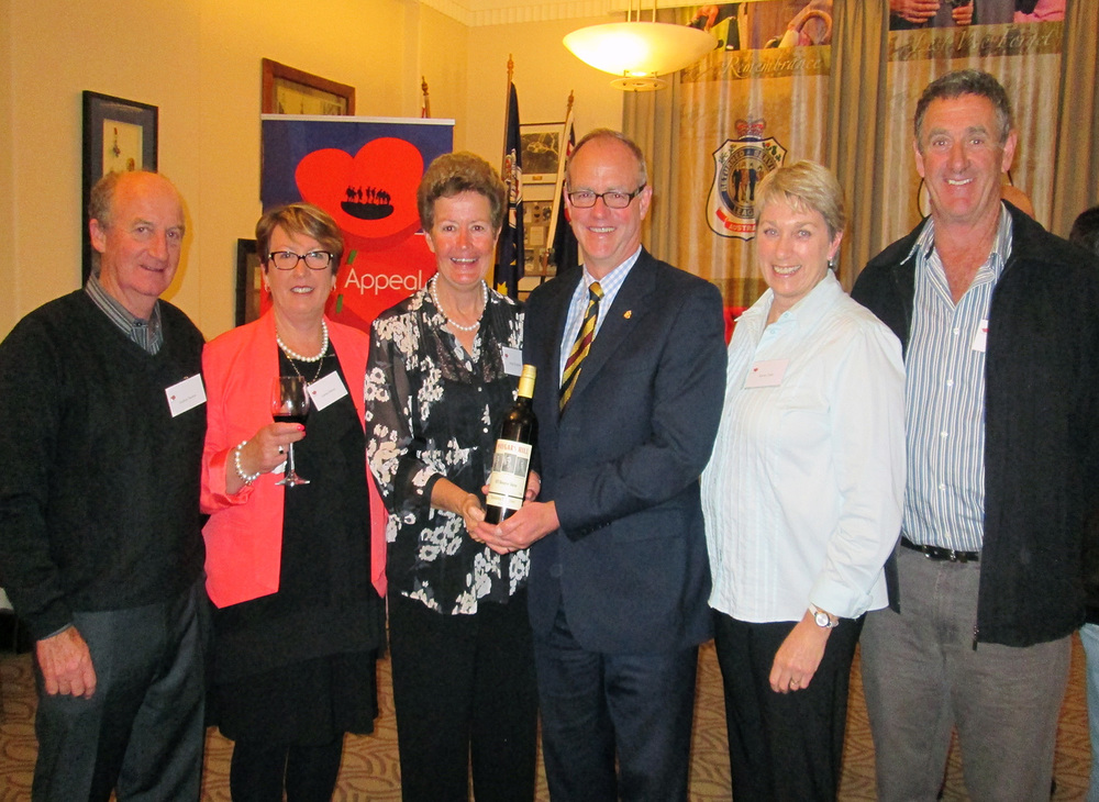 Col. Mike Annett, CEO RSL Victoria with VC descendants, Andrew and Leanne Burton Left and Kerrie and Neil Tubb, Right  and Jenny Houghton of Maygars vineyard at the launch of the 2013 Reserve Shiraz, Honouring our Heroes