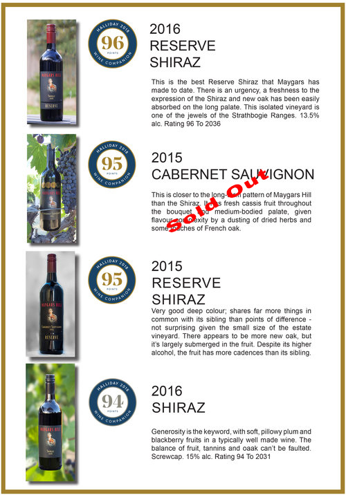 While I'm aching from pruning and counting how many rows to go it's so rewarding to be recognised again with 5 Red Stars from James Halliday's Australian Wine Companion.  Both the 2015 Reserve Shiraz and 2015 Cabernet have achieved a wonderful 95 points which means that there is a partial truce in the vineyard... Jenny