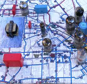 """Silicon Valley Circuit,  bus map and small vacuum tubes mounted on wood, 8""""X12""""X3"""" high, 2009 (detail)"""