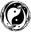 """""""Deep Yin and Yang,"""" relief print, 22"""" diameter, 1992"""