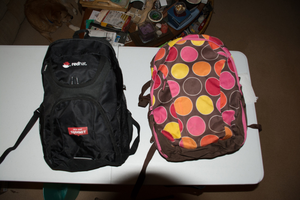 Backpacks ready to go.