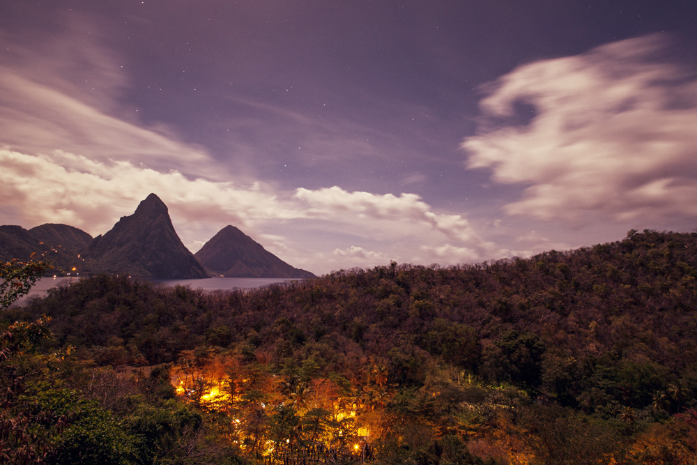 View of the Pitons from Anse Chastenet, St Lucia.