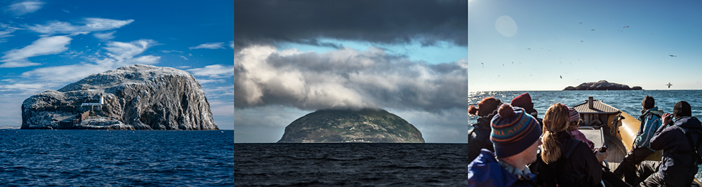 From left to right - The Bass Rock, Ailsa Craig and Grassholm Islands