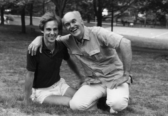 Omega Cofounder Stephan Rechtschaffen and Omega teacher Ram Dass, circa 1985
