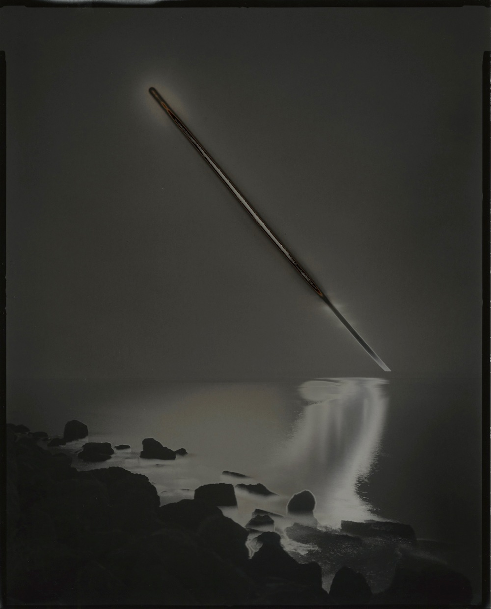 "© Chris McCaw  Sunburned GSP #676 (SanFrancisco Bay), 2013.   8""x10"" unique gelatin silver paper negative"