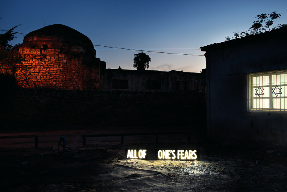"""©  Shimon Attie  ALL OF ONE'S FEARS, Two on-location custom made light boxes, Sited between Synagogue and ruins of former Mosque attacked by rioting Israelis during second Palestinian Intifada, Tel Aviv , 27""""X40""""/48""""X72"""" Lambda Photograph, Shimon Attie, 2018, from the project  Facts on the Ground,  2014, courtesy of Jack Shainman Gallery, NY"""