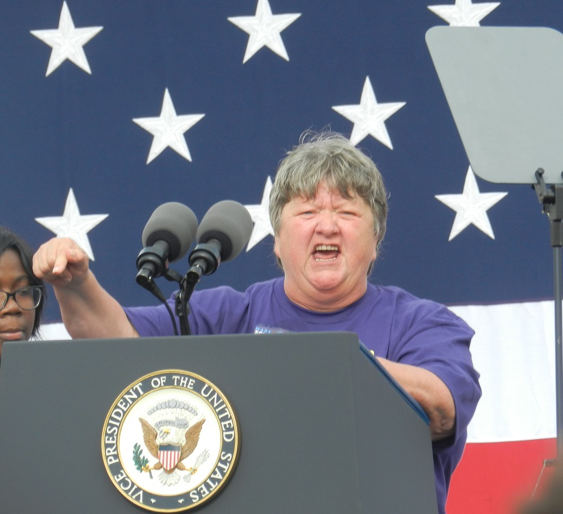 """""""I say we've waited too long. We've waited too long to strike back. Brothers and sisters in November we can strike back and put Snyder in the unemployment line,"""" says SEIU state president Marge Robinson Credit Steve Carmody / Michigan Radio"""