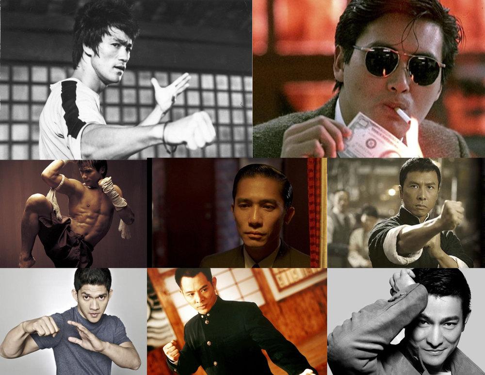 Bruce Lee, Chow Yun Fat, Tony Jaa, Tony Leung, Donnie Yen, Iwo Uwais, Jet Li, Andy Lau